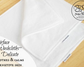 Softest Washcloths for Sensitive Skin, Set of 2+ - Soothing, Gentle, Calming for Rosacea, Eczema, Psoriasis- Fairface Washcloths™ Delicate