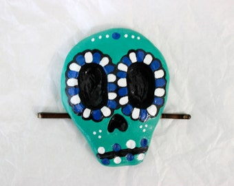 Teal and Blue Sugar Skull Hair Accessory