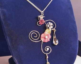 Violet Swoop Pendant; Violet Wire Pendant, Purple Flower Pendant