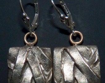 """Earrings, Steel Metal Clay  """"Criss Cross""""   PMCE092"""