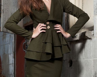 SALE LARGE Olive Twill Peplum Jacket with wooden buttons