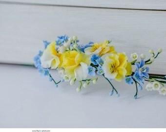 Flower headpiece Bridal floral Crown Wedding hair wreath Blue and yellow flower headband  Pains