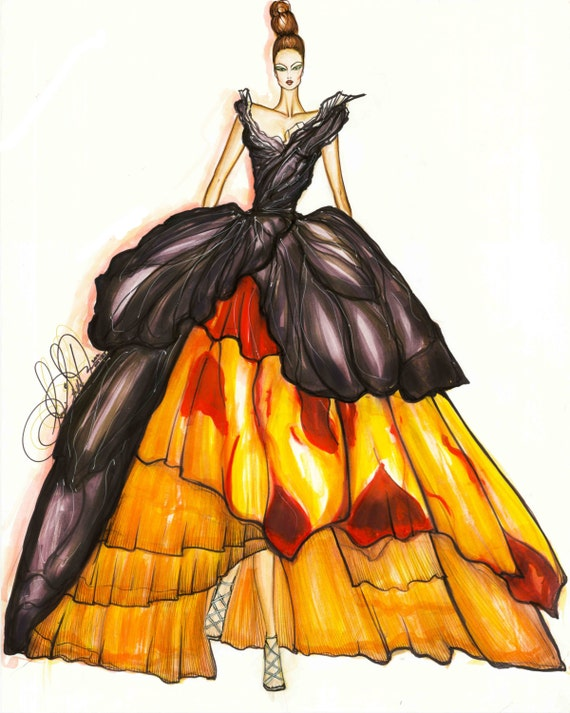 Christian Dior Couture Dress Fashion Illustration Limited Edition Wall Decor Art Signed Matted
