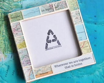 Graduation Gift for Boyfriend Atlas Map Custom Text Photo Picture Frame