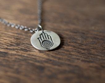 hamsa ahimsa necklace - hamsa necklace - yoga necklace - hamsa charm - hamsa jewelry - hamsa pendant - sterling silver - truche