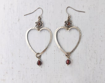Open Heart Earrings - vintage components with antique garnet glass beads - lightweight