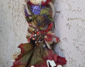 Equinox Moon, Trendy Kitchen Witch, Cottage Art Doll, Assemblage, OOAK