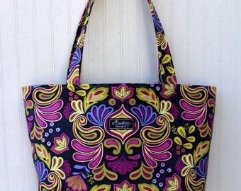 Indigo Damask Boxy Tote Bag