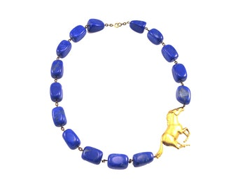 Cobalt Blue Statement Necklaces, Gold Blue Statement Necklaces, Dark Blue Statement Necklace, Navy Blue Statement Necklaces, Lapis Necklace