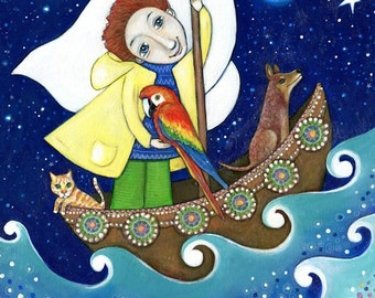 Boys wall art print painting red hair blue eyes cat macaw bird dog gift for son boy nephew boys ocean wall art