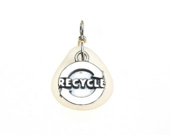 Recycle Pendant - White Sea Glass & Sterling Silver Charm