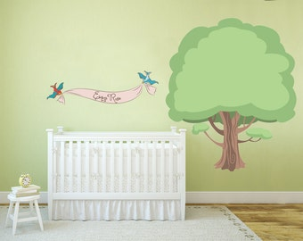 Extra Large Whimsical Tree and Swallows holding Customizable Name Banner - Vinyl Wall Decal