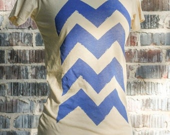 Blue Chevron Organic Scoop Neck Top