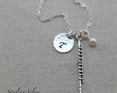 Flute Charm Necklace, Personalized With Initial and Birthstone, Personalized Sterling Silver Jewelry, Flute Player Gift, Music Necklace