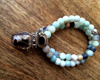 Neelima - Amazonite and Onyx pendant necklace