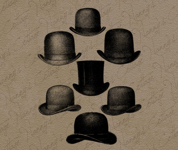 Quirky Vintage Clip Art - Men with Funny Party Hats - The ...  |Vintage Hat Art