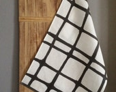 Linen Tea Towel - Black and White Plaid Strokes - Hand Painted