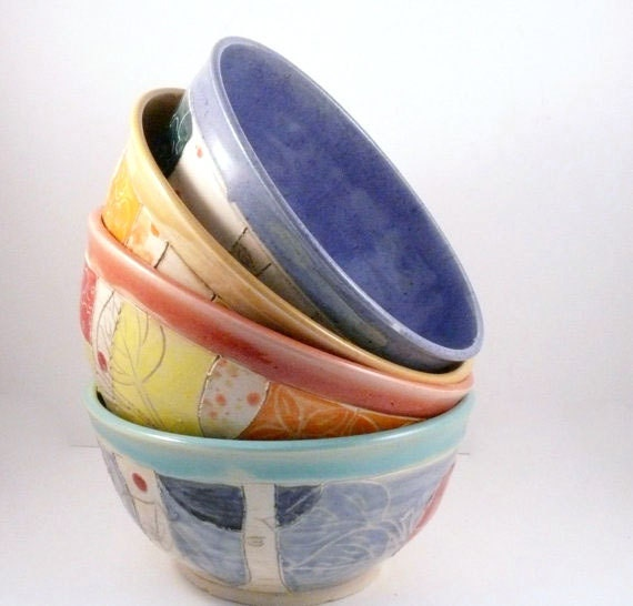 Ceramic Bowl Set of 4, Wedding Couple Gift, Bright Dinnerware Colors, Soup bowls salad dishes handmade aspen tree art, Anniversary Gift