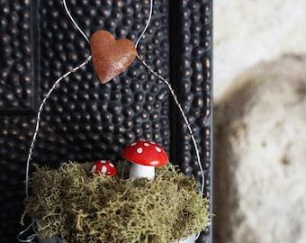 Woodland Christmas Ornament, Terrarium Inspired Ornament with Little Mushrooms