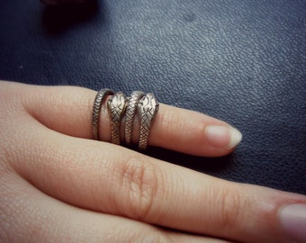 the asp - snake midi knuckle ring - BRASS occult snake wrap ring - edgy stacking rings - witchy occult goth festival jewelry