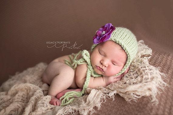Jacqueline - Celery Green Newborn Bonnet with Purple Flower