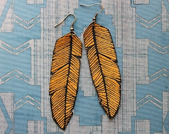 Screen Printed Leather Earrings-Black and Tan Feather