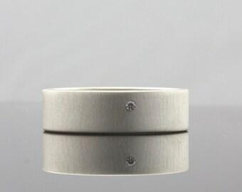 Matte Finish Wide Silver Ring with Tiny Flush Set White Diamond - 6 mm Band Ring for Men or Women - Modern Artisan Minimalist Wedding Ring