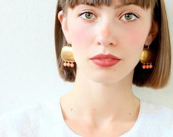 Coral Earrings, statement chandelier earrings, coral chandeliers, brass chandelier earrings, christmas gift, gemstone earrings