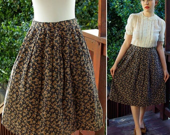 Spring MEADOW 1950's 60's Vintage Navy Blue + Tan Brown Floral Skirt // size Small