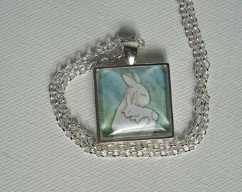 Bunny Hug  - Unique Handmade Square Rabbit Pendant
