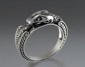 OUROBOROS silver mens Snake ring