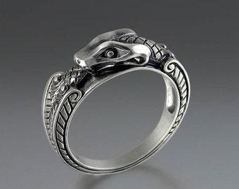 OUROBOROS silver mens unisex Snake ring