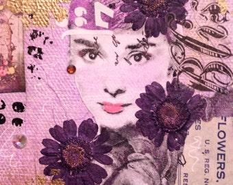 Original Mixed Media Surreal Pop Art Audrey Hepburn Whimsical Collage on 4x4 inch Canvas in Pink, Purple and Gold with Swarovksi Crystals