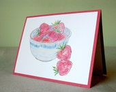 Cards - Strawberries - Set of 4 - FREE US Shipping
