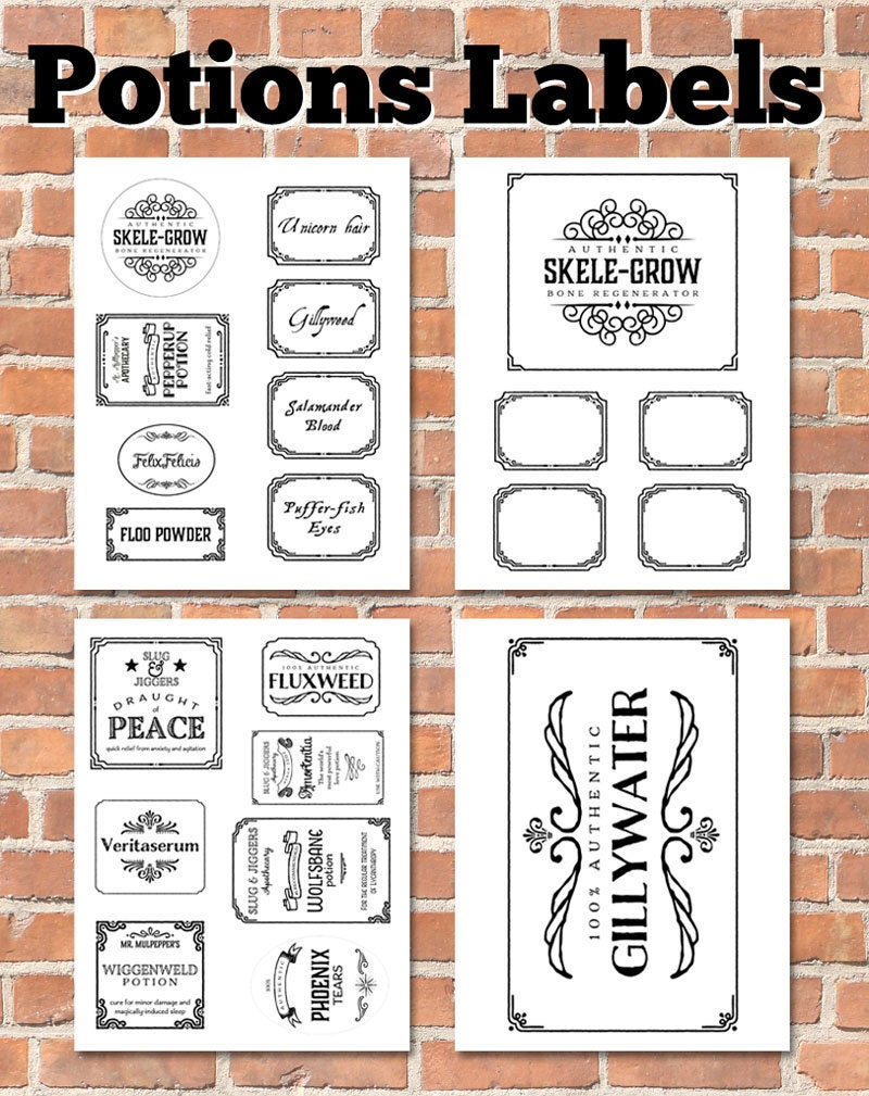 Sweet image in printable potion labels