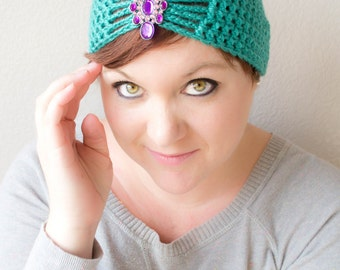 Flapper Girl Cloche Hat in Mermaid Blue-Green - choose your own brooch - winter hats for women - winter hats for baby girls