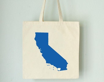 California LOVE Tote - San Diego royal BLUE state silhouette heart on natural bag