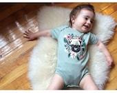 Pug print organic cotton onesie Supayana x Olivia Mew