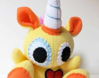 Rowdy One Horn - Mini yellow plush unicorn with rainbow mohawk, stuffed unicorn plush, unicorn softie