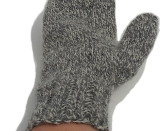 Natural Gray Mittens - Hand knit Homespun Llama and Sheep Wool