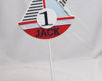 Boy Sailboat Cake Topper Centerpiece- Personalized