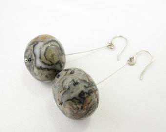 Sterling Silver, Charcoal Grey, Black, Taupe Natural Marble Stone Mod Christian Earrings - THUNDER Collection