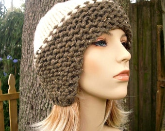 Brown Womens Hat - Ear Flap Hat Cream and Barley Brown Knit Hat - Brown Hat Cream Hat Brown Ear Flap Hat Womens Accessories - READY TO SHIP