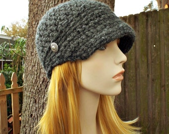 Crochet Hat Grey Womens Hat Grey Newsboy Hat - Sylvie Newsboy Cap in Granite Grey - Grey Beanie Grey Hat - Womens Accessories