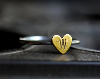 Custom Personalized Heart Ring Stacker Made to Order with Initial and Size of Choice