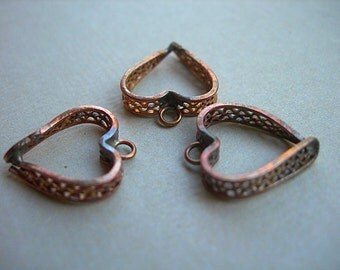 Vintage Heart Charms Copper Filigree Open lot of 3