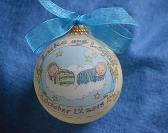 NEWBORN TWINS Baby Keepsake Ornament, Handpainted, Personalized, Customized, Totally Original with FREE display stand