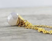 Pearl Chalcedony Necklace - Pearl Chalcedony Pendant - Gold Gemstone Necklace - Wedding Jewelry - White Bridal Necklace - Wire Wrap Necklace