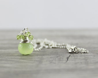 Lime Green Necklace, Light Green Gemstone Necklace, Sterling Silver Necklace, Wire Wrap Necklace, Pendant Drop Necklace, Peridot Necklace