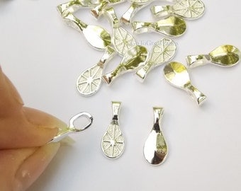 144 Bails, 17x7mm Bright Silver Color Spoon- shaped necklace bails, water drop Glue on bails for pendants 17 mm by 7 mm jewelry supplies